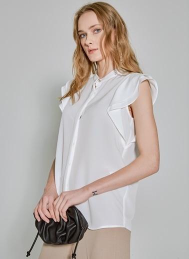 People By Fabrika Kolları Volanlı Gömlek Beyaz